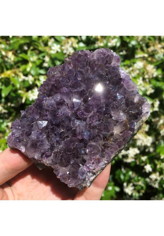 Amethyst Druzy Collectable Violet Quartz Crystal with Support Side 224g-1