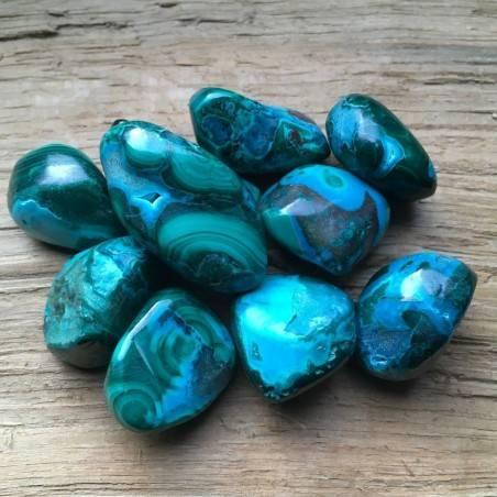 Polished MALACOLLA Tumbled Stone Malachite + Chrysocolla Tumbled Rare