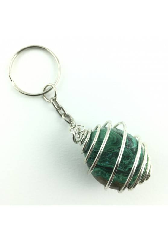 keychain Crystal Tumbled Authentic Azurite and Malachite Chakra Reiki Zen-1