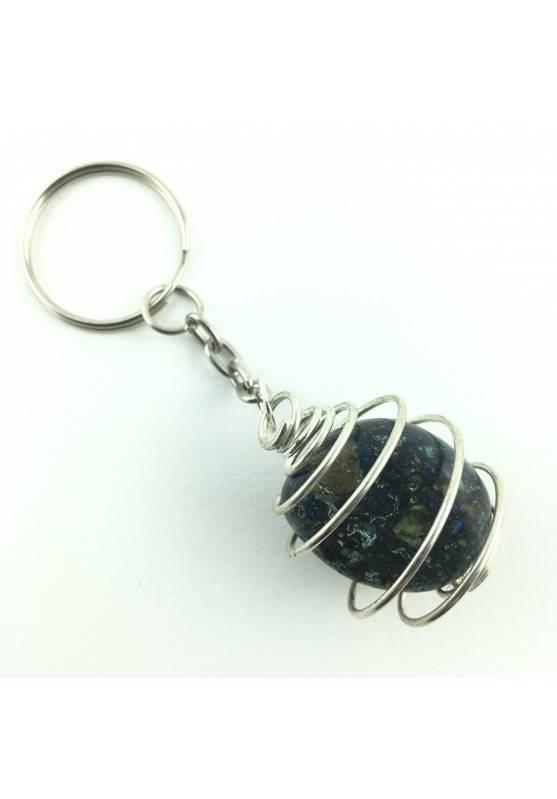 Crystal Tumbled Azurite and Malachite Chakra Reiki Crystal Keychain-1