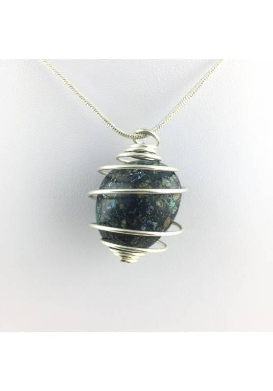 Pendant Crystal Tumbled Azurite and Malachite Crystal Healing Chakra Meditation-1