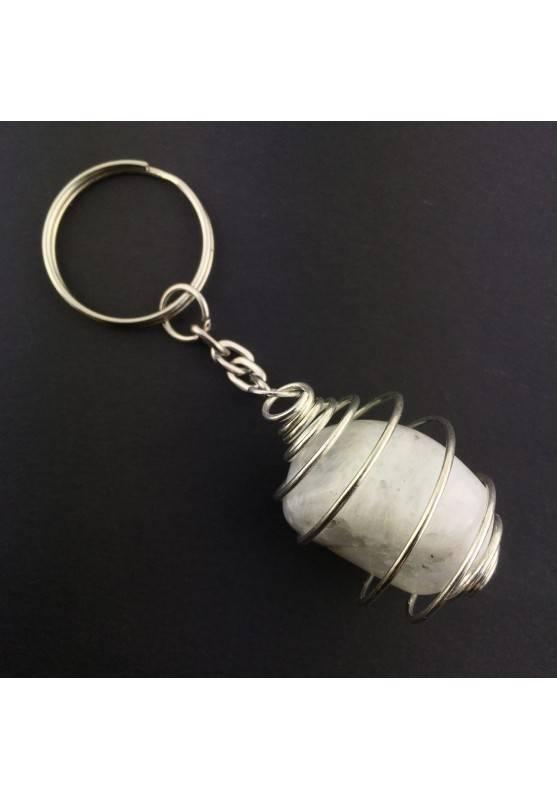 keychain Crystal Tumbled White Labradorite Moon Stone Chakra Reiki Zen-2