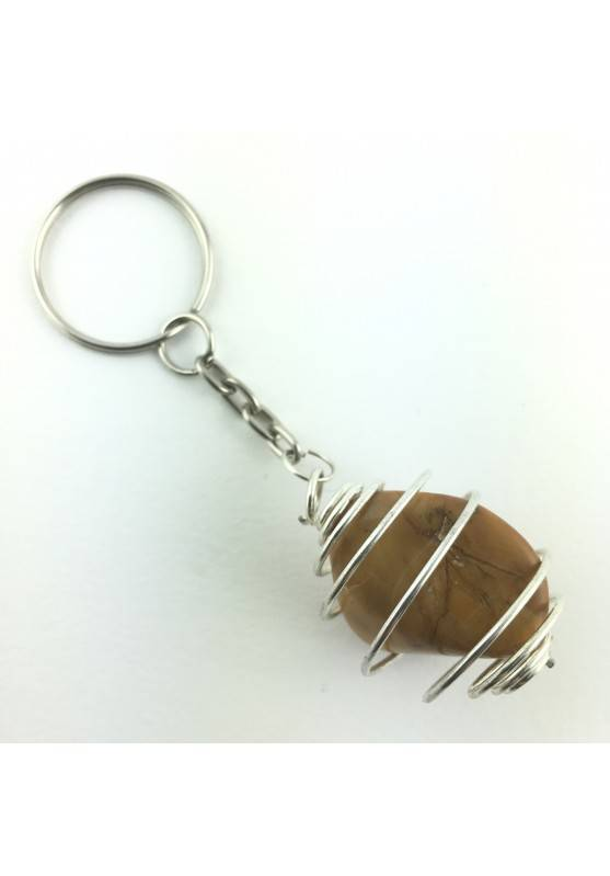 keychain Yellow Jasper Tumbled Stone Medium Crystal MINERALS Crystal Healing-1