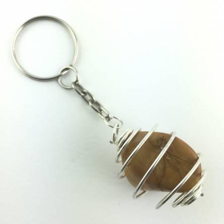 keychain Yellow Jasper Tumbled Stone MINERALS Crystal Healing Chakra Reiki Zen-1