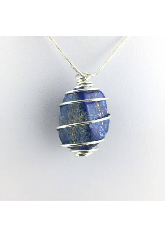 Ciondoli LAPISLAZZULI Burattato Collana Minerali Cristalloterapia Blu Oro Chakra-1