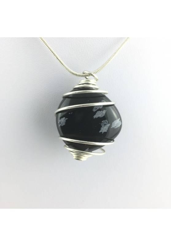 Pendant Snow Obsidian Tumbled Stones Chakra Reiki Zen Crystal Healing-1