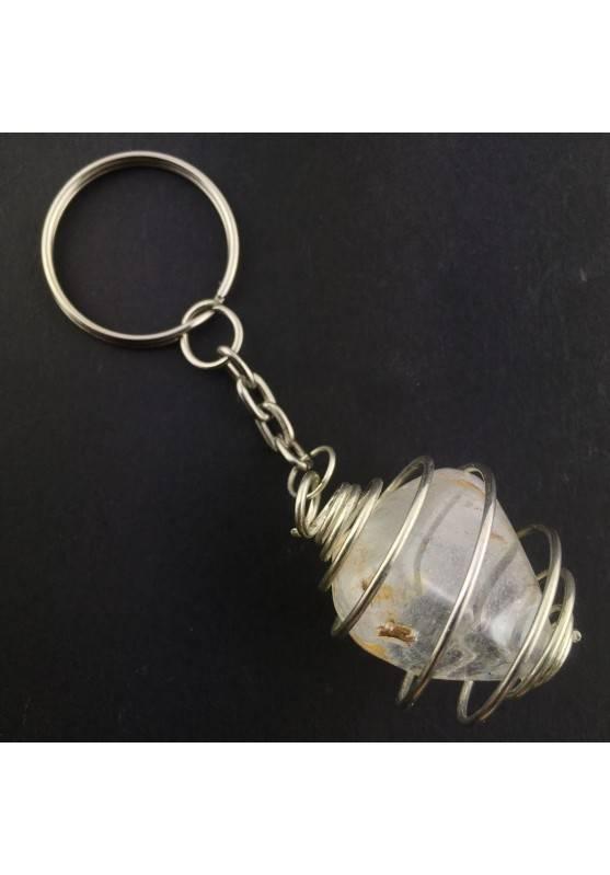 Keychain MINERALS * Precious TOPAZ Tumbled Light blue Chakra Reiki Zen-1