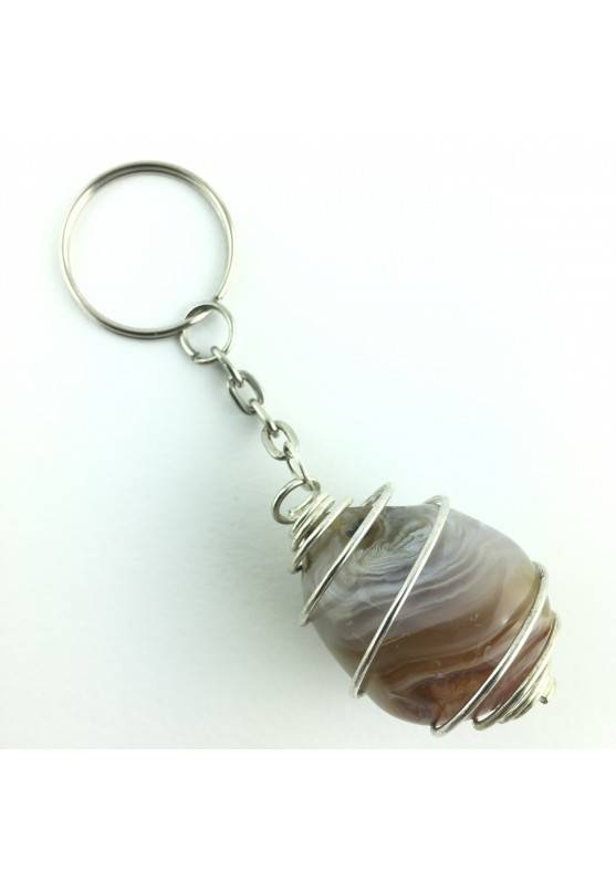 Keychain Minerals Tumbled AGATE from Madagascar with fossilized water Enhydro-1