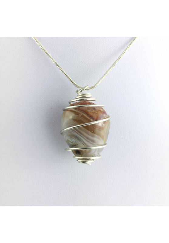 Pendant Minerals Tumbled AGATE Necklace with fossilized water Enhydro-1