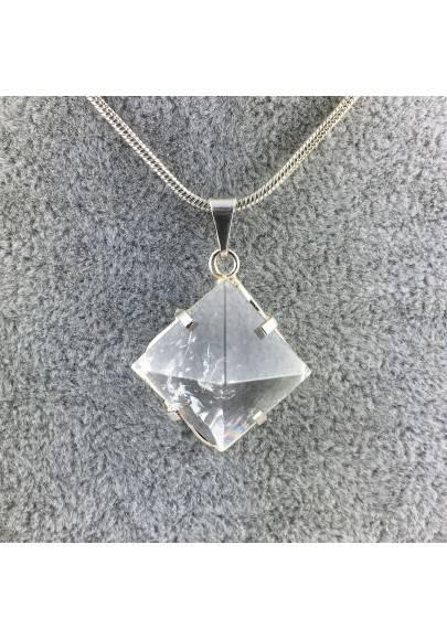 Ciondolo Piramide di QUARZO IALINO Placcato Argento Collana Cristalloterapia-1