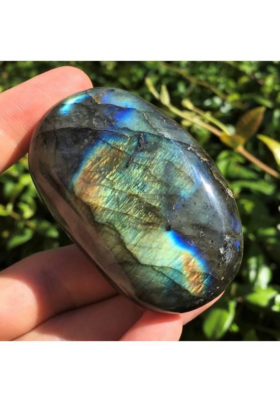 LABRADORITE PALMSTONE of Madagascar Tumbled clarity Blue Gold-1