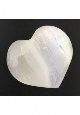 Wonderful HEART in WHITE SELENITE Angel's Stone LOVE Crystal Healing Zen-1