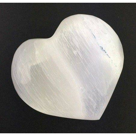 Wonderful HEART in WHITE SELENITE Angel's Stone LOVE Crystal Healing Zen-1