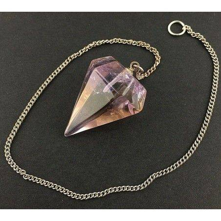 AMETRINE QUARTZ Professional Pendolum SILVER Plated Necklace Vintage Dowsing-2