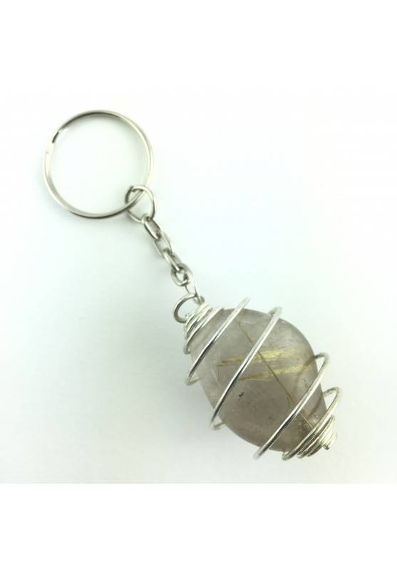Keychain RUTILATED QUARTZ Minerals EXTRA Quality A++ Crystal Healing-1