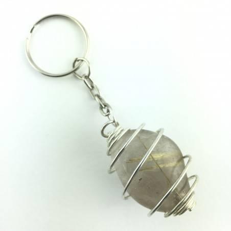 Keychain RUTILATED QUARTZ Minerals EXTRA Quality A++ Crystal Healing-1