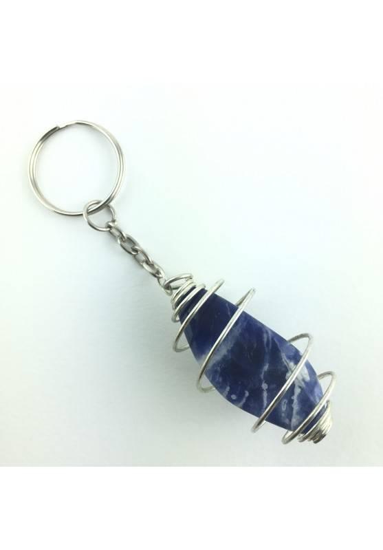 Portachiavi SODALITE Qualità Extra Blu Burattato Minerali [PAGHI UNA SOLA SPEDIZIONE]-1