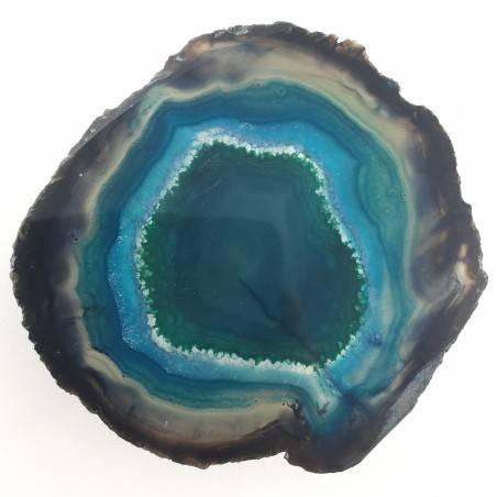 Bellissima Fetta di AGATA Blu Marrone Trasparente Collezionismo Cristalloterapia-3