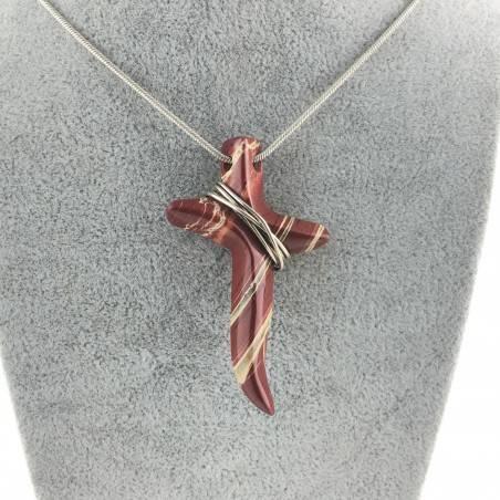 Minerals ZEBRA Jasper Pendant Cross True Silver Plated Necklace Crystal Healing-2