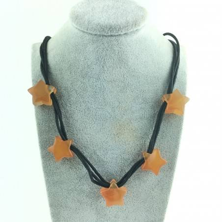 Handcrafted Necklace CARNELIAN AGATE with Star Crystal Healing Zodiac Minerals-2
