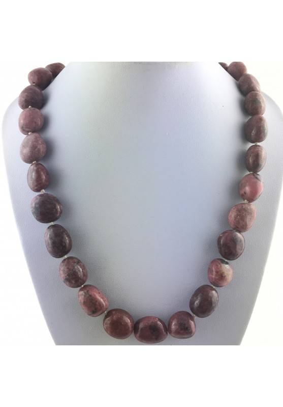 Tumbled Necklace Stone RHODONITE Crystal Healing Chakra Minerals Reiki Zen-1