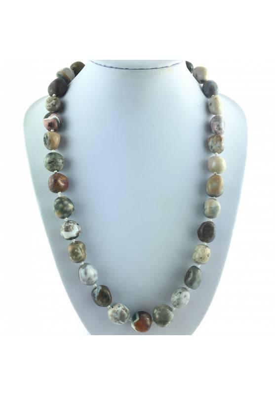 Tumbled Necklace of Orbicular Ocean JASPER Crystal Healing Chakra Reiki Zen-1