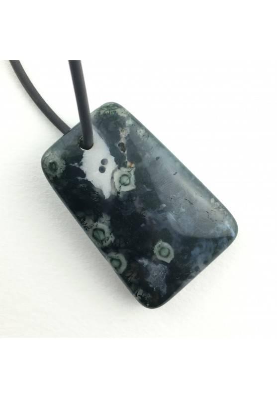Raro Ciondolo Gemma in Agata Orbicolare Burattato Minerali Zodiaco Gemelli-1