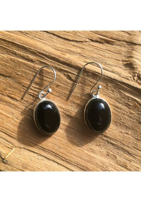Earring of Black ONIX Tumbled smoothed on Silver 925 Crystal Healing A+-1