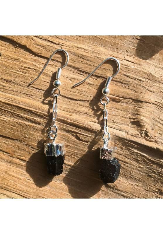 Earrings Rough Black Tourmaline Stone no Elettrosmog Crystal Healing Chakra Zen-1