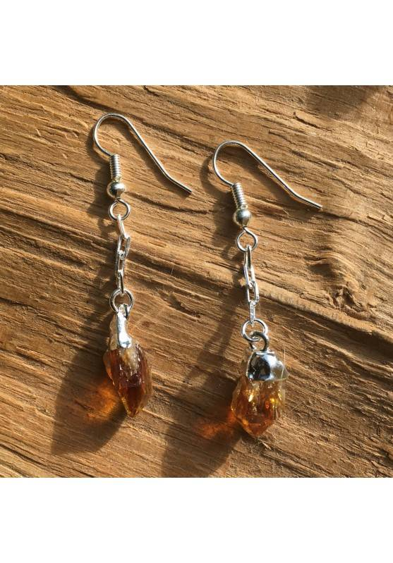 Earrings Citrine quartz Points Rough High Quality jewelry Crystal Healing-1