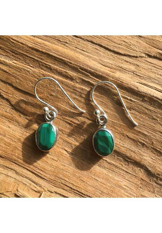 Earrings Tumbled MALACHITE Faceted Green Crystal Healing on Silver 925-1