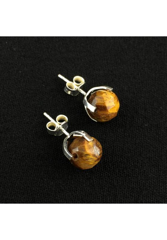 Earrings in TIGER'S EYE Faceted Crystal Healing Mineral silver plated Chakra-2