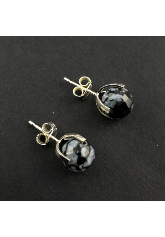 Earrings Snow Obsidian Faceted MINERALS Crystal Healing Silver Plated-1