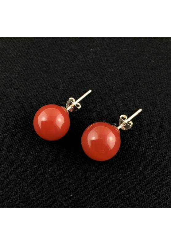 Spherical CARNELIAN Agate Earrings on Silver Reiki Chakra Crystal Therapy-1