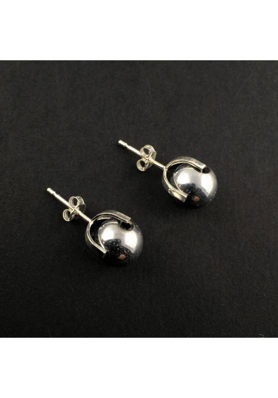 EARRINGS in HEMATITE Silver on Silver 8mm Crystal therapy Chakra Reiki Zen-1