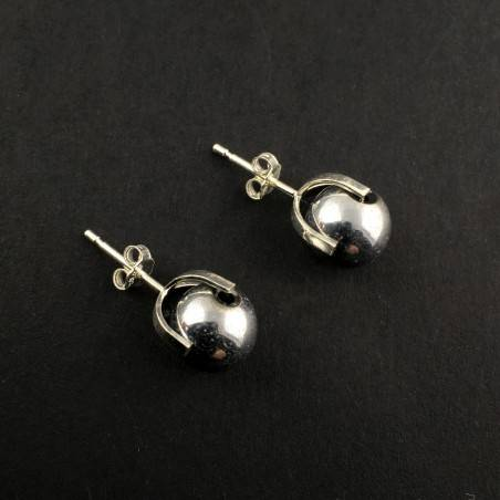 EARRINGS in HEMATITE Silver on Silver 8mm Crystal therapy Chakra Reiki Zen