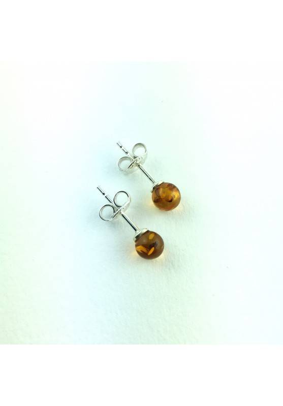 AMBER earrings on 925 Silver 5mm Crystal Healing Chakra Reiki Zen-1