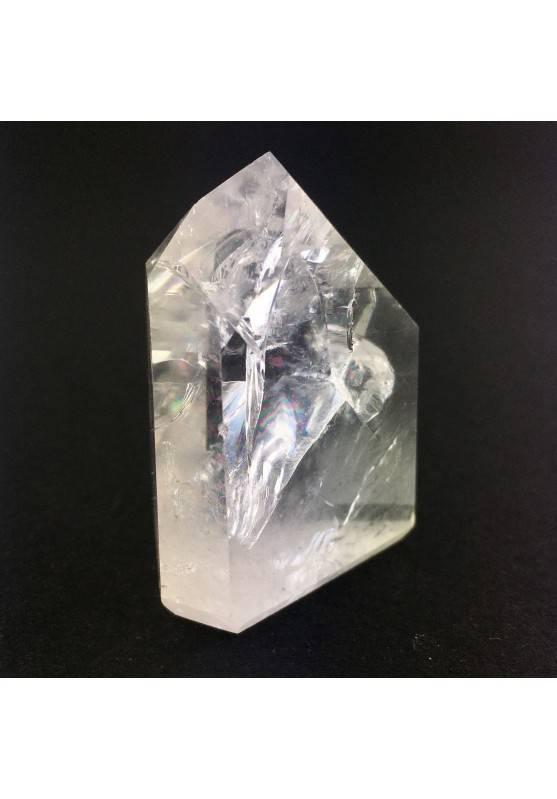 Punta Cuarzo Blanco Craked Minerales Fantasmas Decoración Cristal de Roca 59gr-2