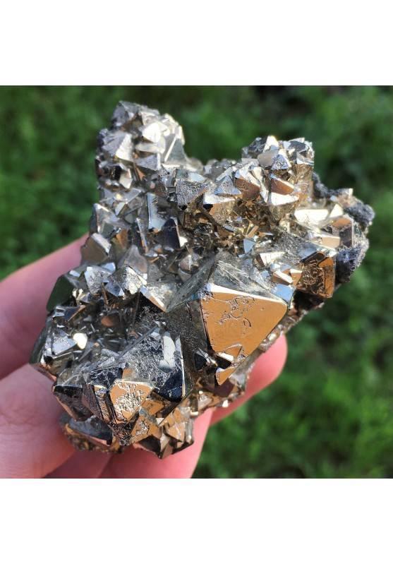 PIRITA Octaedrica del Perù con Marcasita Minerales Chakra Reiki Zen-1