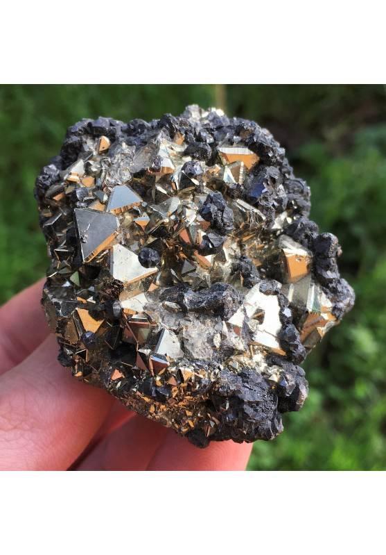 Minerales hermosa PIRITA Octaedrica con Esfalerita Alta Calidad 126gr Zen-1