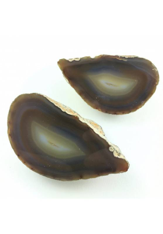 Light Brown AGATE GEODE Pair Couple Slice Crystal Healing 492gr Specimen-1