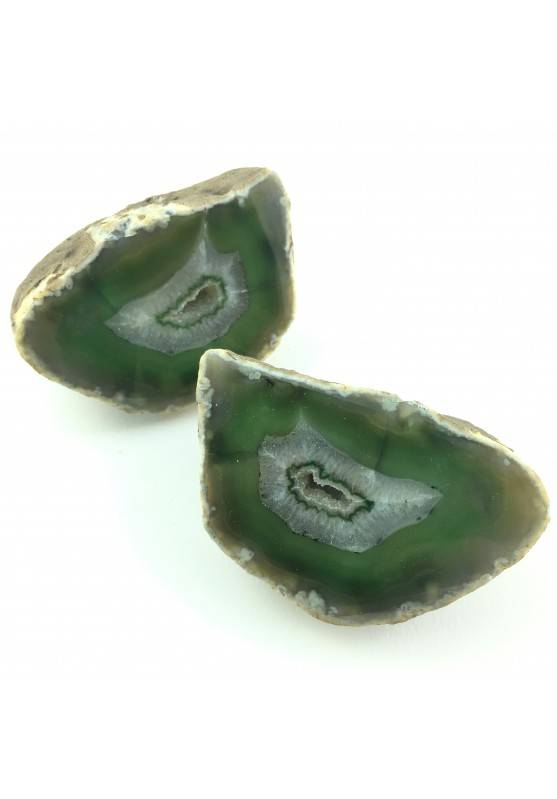 Wonderful Green AGATE GEODE Pair Couple Slice Crystal Healing Home Decor 640gr-1