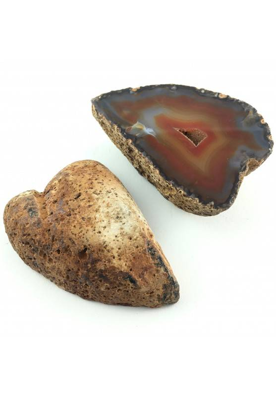 AGATE GEODE Pair Couple Slice Red Brown Crystal Healing purify Home Decor 462g-1