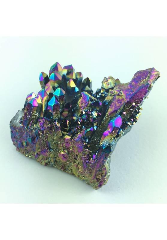 AQUA AURA Quartz Rainbow Druzy Cluster Clear Quartz Gold Points Home Decor A+-1