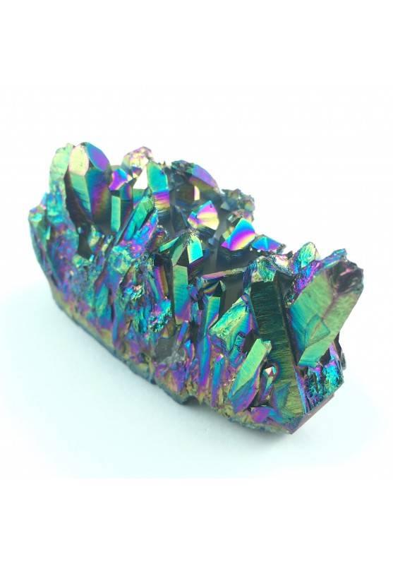 Drusa di AQUA AURA Arcobaleno Cluster Ialino Oro Cristalloterapia Collezionismo-1