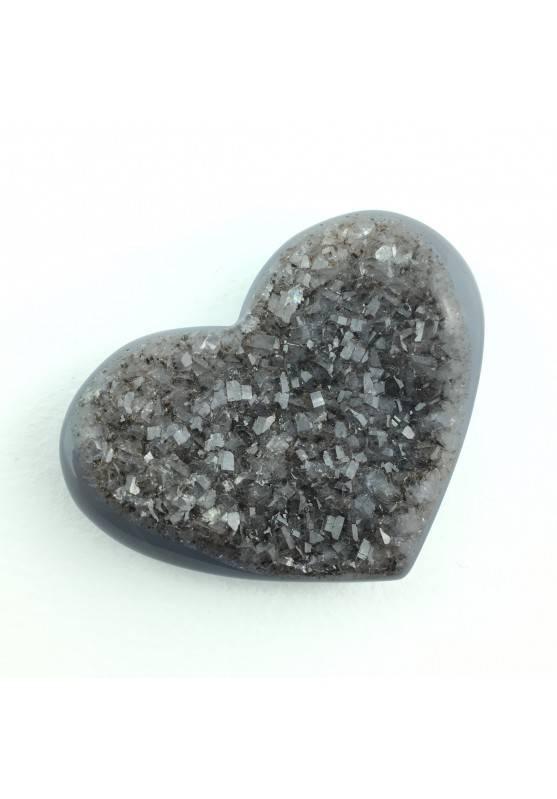 Minerale * Cuore in AGATA con Cristalli AMETISTA Cristalloterapia Collezionismo-2