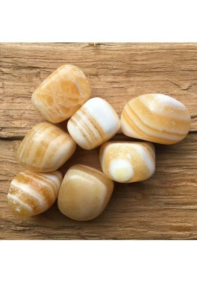 Banded Yellow - White CALCITE Tumbled Crystal Healing Stone Minerals Tumblestones-1