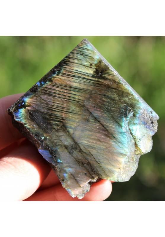 Piastra LABRADORITE Minerali Arredamento Cristalloterapia Chakra Reiki Zen 81g-2