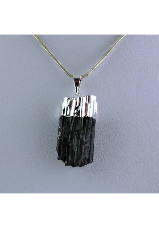 Pendant Rough Tourmaline Silver Necklace Crystal Healing Chakra Reiki Zen-1