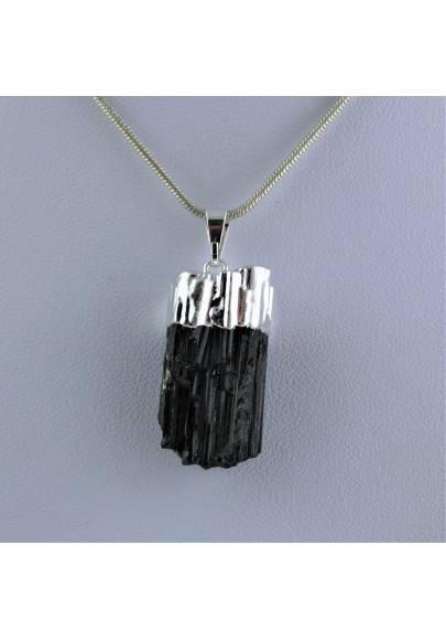 Rough Tourmaline Pendant Silver - TAURUS GEMINI LIBRA MINERALS Crystals-1